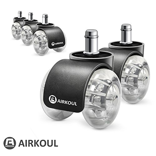 Airkoul Office Chair Caster Wheels, 5Pcs 2 Inches PU Replacements Wheels,Double Wheel, Universal Fit Safe for Hardwood Floor,Smooth & Quiet