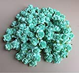 100 pcs mini Rose Mint Green color Mulberry Paper Flower 20 mm scrapbooking wedding doll house supplies card By' Thai decorated