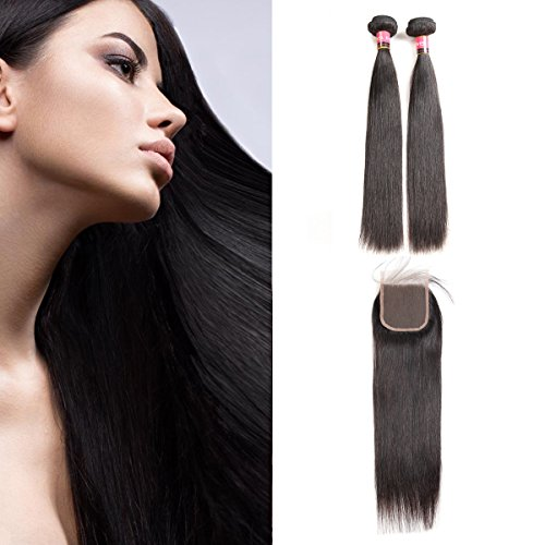 West Kiss Hair Brazilian Straight Virgin Remy Human Hair Extensions 2 Bundles with 4×4 Free Part Lace Closure Nature Color 100% Unprocessed (10 10 & 8 inch) For Sale