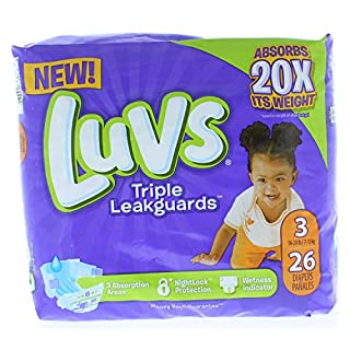 26ct of Luvs Triple Leak Guard, Size 3 (16lbs-28lbs)