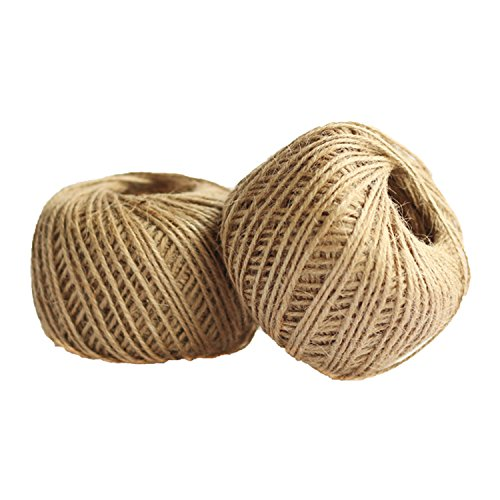 JmYo 656ft Jute String, 2mm Natural String Twine Rope is Gift Wrap for Arts Crafts, Tags, Gift, Wedding, Decoration, Christmas, ()
