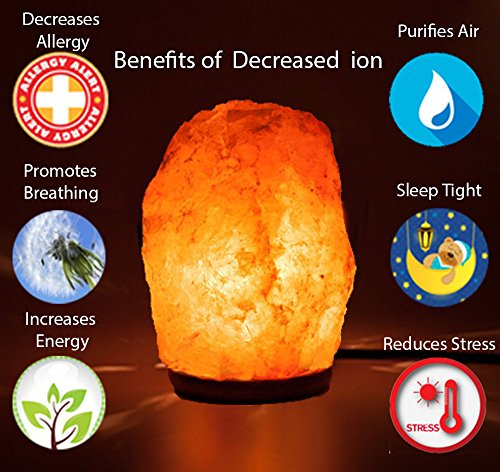 HemingWeigh Natural Himalayan Salt Lamp Hand Carved with Genuine Wood Base, Bulb and On and Off Switch 6 to 8 inch, 6 to 7 lbs. 2 Pack by HemingWeigh (Image #3)