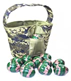 """Cool Camo"" Easter Basket, Large Plush Basket with pockets and Camo Easter Eggs, Green Camouflage"