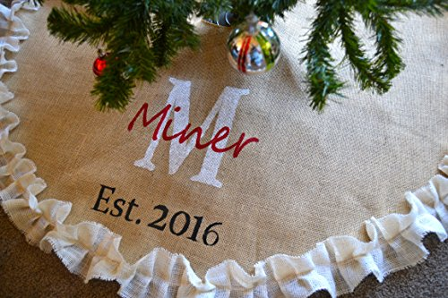 Burlap Tree Skirt , Monogrammed, Double White ruffle