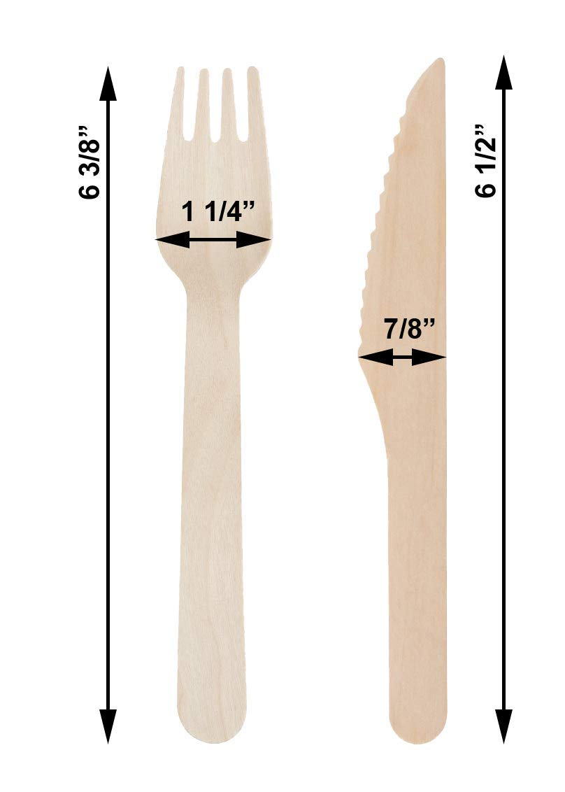 300 PCS Eco Friendly Disposable Dinnerware Set - 100 Palm Leaf Compostable 8'' Plates w/Wooden Cutlery - 100 Forks 100 Knives for Party by ECODECO (Image #6)