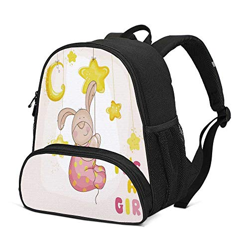 Kids Durable Kids Backpack,Cartoon Like Cute Baby Bunny Hanging Stars and Moon Polka Dots Cheerful Art for School Travel,10