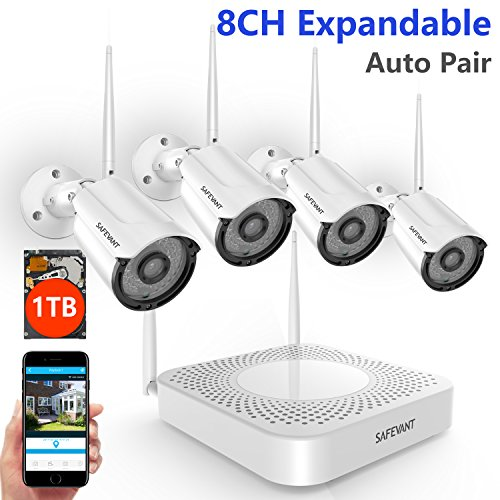 Security Camera System Wireless,Safevant 8CH NVR Wireless Security Camera System, 4pcs 960P Indoors&Outdoors Wireless Security Cameras,65ft Night Vision,1TB Hard Drive,Auto-Pair,Plug&Play ()