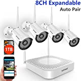 【Expandable System】 Safevant 8CH NVR Wireless Security Camera System, 4pcs 960P Indoors&Outdoors Wireless Security Cameras,65ft Night Vision,1TB HDD Pre-Installed,Auto-Pair,Plug&Play