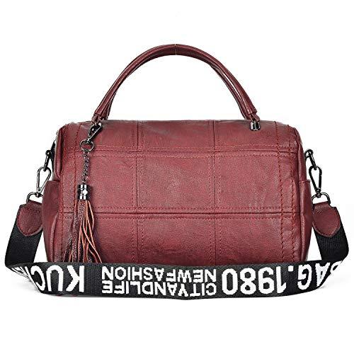 by Leather Large Hobo Women Purse Bag Tote HandBag Crossbody Alovhad Shoulder Bag Zipper PU Red Women w1wrO