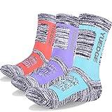Women's Hiking Athletic Socks YUEDGE Multi Performance Wicking Cushion Crew Cotton Sock