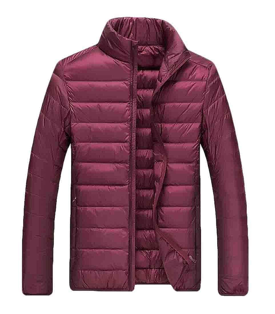 BU2H Men Stand Collar Slimming Lightweight Down-Filled Short Winter Coat