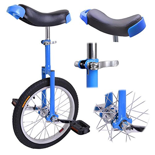 16-inch Wheel Aluminum Rim Steel Fork Frame Unicycle Blue w/ Comfortable Saddle Seat Rubber Mountain Tire for Balance Exercise Training Road Street Bike Cycling