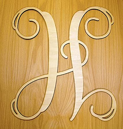 Amazon.com: MONOGRAM DOOR HANGER WALL HANGER WREATH SINGLE LETTER ...