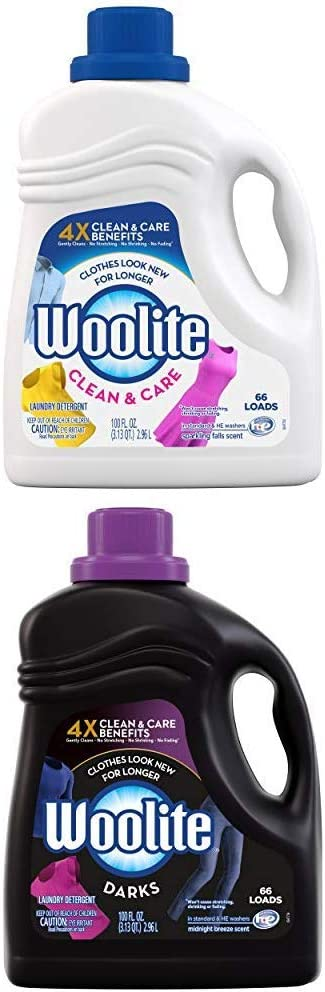 Woolite Clean & Care and DARKS Liquid Laundry Detergent, 66 Loads, 100oz, Regular & HE Washers