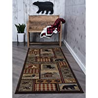27 x 73 Brown Black Bear Runner Rug Rectangle, Indoor Red Tan Bears Pattern Hallway Carpet Moose Hunting Themed Entryway Cabin Lodge Plaid Theme Mountains Camping Wildlife Entrance Way Polypropylene