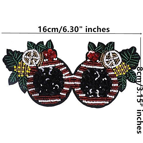 1piece Fashion Sunglasses Design Beaded Rhinestones Applique Sew on Stickers Handicraft Apparel Accessories TH509