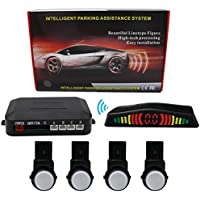 KIPTOP Wireless LED Display Car Vehicle Reverse Backup Radar System with 4 Alert Parking Sensors for All Cars(Silver)