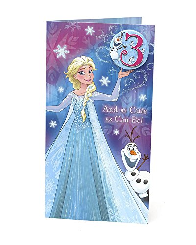 Disney Elsa Frozen Age 3 Birthday Card with -