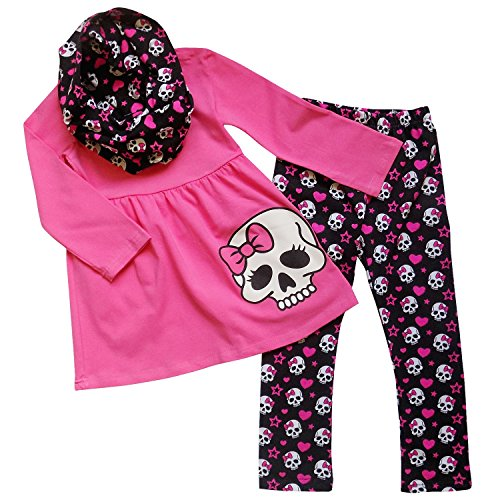 School Girl Outfits For Halloween (So Sydney Girls Halloween Skull Skeleton Hot Pink, 3 Pc Outfit w/ Infinity Scarf (XXXL (8)))