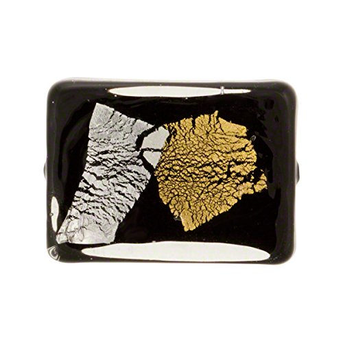 Black Abstract with Gold & Silver Foil Murano Glass Bead, Rectangle, 22mm