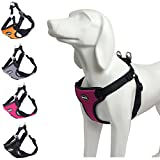 canine harness - BINGPET No Pull Dog Harness Reflective for Pet Puppy Freedom Walking Large Hot Pink