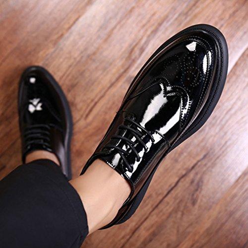 Xianshu Mocasines 44 Hombres Negro Encaje Charol Zapatos PRxEPwrTn1