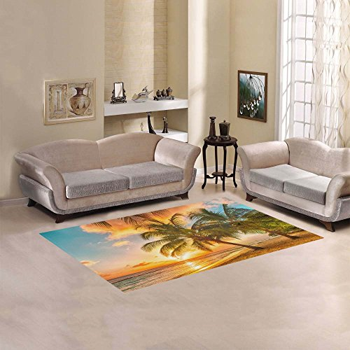 InterestPrint Tropical Palm Tree Beach Area Rug Cover 5' x 3'3, Ocean Sea Seaside Hawaii Summer SunThrow Rayon Fiber Carpet Rugs Cover for Home Living Room Bedroom Decor