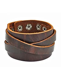 Jirong Real Leather Cuff Women Leather Bangle Bracelet, Men Leather Cuff Bracelet, Wide Belt bracelet SL2487