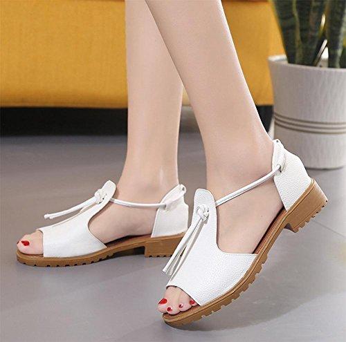 Ding Xia Jiping Unterseite Schuhe mit dicken Spitze Sandalen weiblichen Studenten White