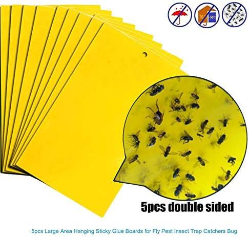 Aomili Fliegenfalle Fliegenfänger Rollen Fliegenfänger Leimrollen für drinnen draußen Fliegende Insekten Motten Mücken Kontrolle (5)
