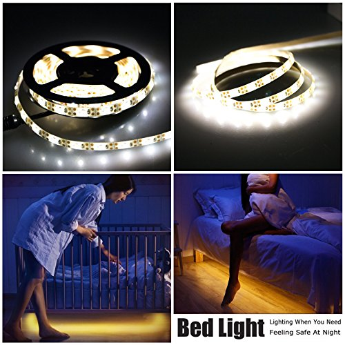 Price comparison product image Motion Sensor Bed Light,  LinkStyle 6.5FT / 2M Dual Mode Motion Night Light,  Stick-on Anywhere Wireless Battery Operated Flexible LED Strip Night Light for Stair,  Crib Baby Bed