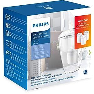 Philips – AWP2920-3 – Kit de démarrage carafe filtrante – Réduit le calcaire, le chlore, le plomb, les microplastiques…
