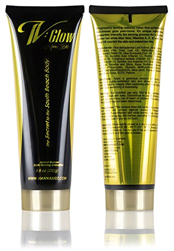Tanning Lotion - Vanna Belt V-Glow (8.8 oz) - Anti-Aging Ingredients Aloe Vera and Retinol - Made for a Longer-Lasting Tan - For Indoor/Outdoor Tanning - Pomegranate Scent Double Duty Bronzer