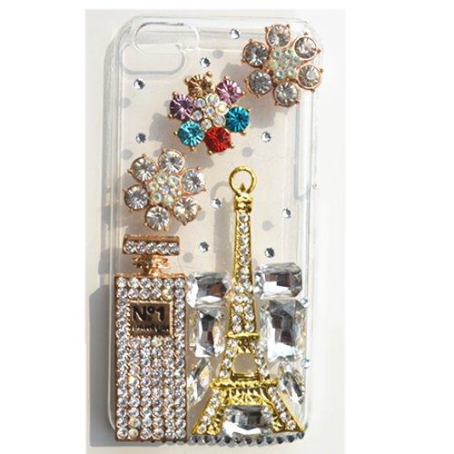 EVTECH (TM) Coque 3D Bling Strass Case Transparent Back Cover Cristal Etui Housse Hard Coque pour Apple iPhone 5C 2013 Smartphone (AT & T, T-Mobile, Sprint, Verizon)