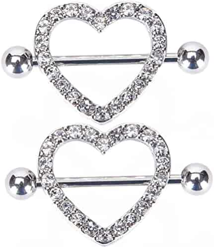 2PCS Nipple rings Heart shape Nickel free body piercing jewelry 14G Surgical Steel a pair