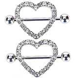 Body Piercing Rings,IrbingNii Heart Shape Two Layers Body Piercing Jewelry,Body jewelry a pair