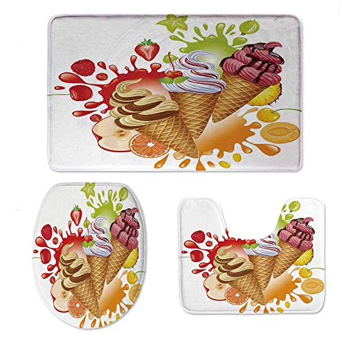 YOLIYANA Ice Cream Decor Non Slip Bathroom Rugs Contour Mat and Toilet Cover,Various Flavor Summer Dessert with Peach Apricot Strawberry Sorbet Print Decorative Mats,One Size ()