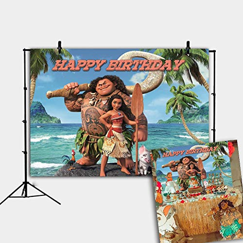 Botong 7x5ft Tropical Beach Ocean Moana Birthday Themed Backdrop Summer Beach Princess Girls Birthday Photo Backgrounds Happy Birthday Party Photo Booth Props Banner th70-7x5FT