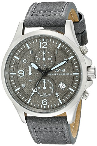 AVI-8-Mens-AV-4001-07-Hawker-Harrier-II-Stainless-Steel-Watch-with-Light-Blue-Genuine-Leather-Band
