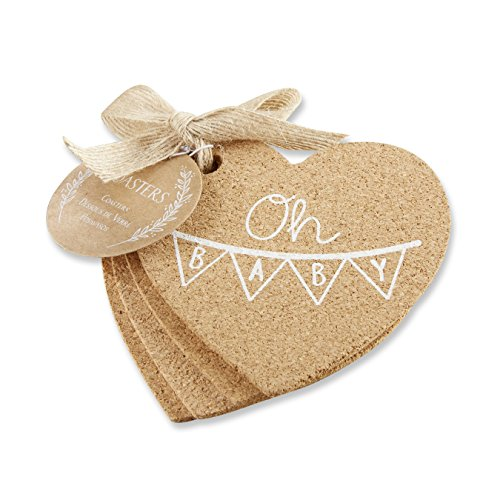Kate Aspen 22078NA Oh Baby Heart Cork Coaster (Set of 4) Set, Brown and ()