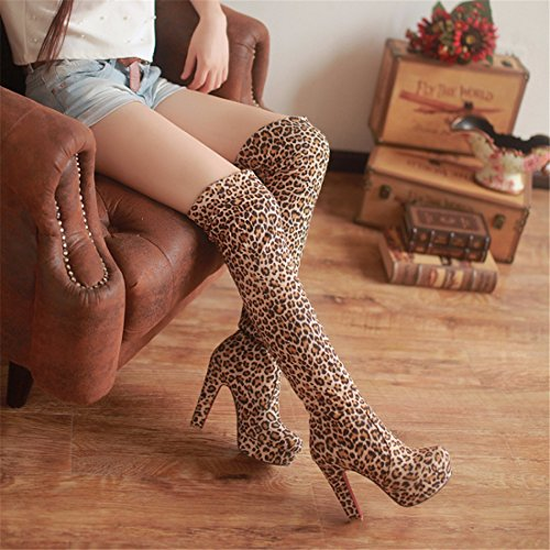 Ultra Suede knee high heels boots tube Yellow (cashmere) JtMqgL0n