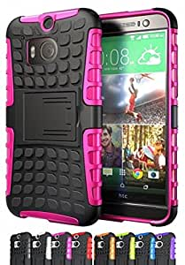 ShopNY CASE - HTC One M8 Case-Heavy Duty Rugged Dual Layer Holster Case with Kickstand (HTC One M8, Black) (Hot Pink)