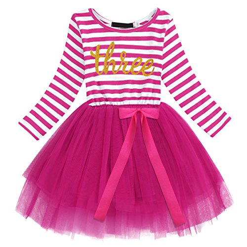 Newborn Baby Girls Toddler Kids Princess Long Sleeve Striped Dress 3rd Birthday Cake Smash Tulle Tutu Dress Party Outfit Hot Pink
