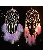 TEUVO LED Dream Catcher for Kids, Handmade Dream Catchers for Bedroom Wall Hanging Decoration (Pink and Purple)
