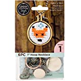 60036 Mini Embroidery Hoop Necklace Punched For Cross Stitch-Circle W/ Ball Chain