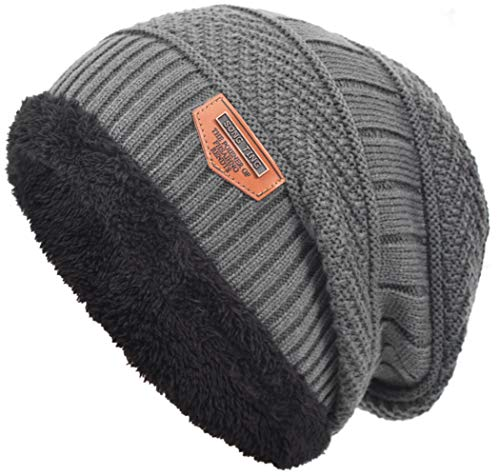 229d1e7ea94 Mens Thick Warm Winter Fleece Lined Knit Beanie Hat Baggy Oversize Slouchy  Stocking Beanie Skull Cap