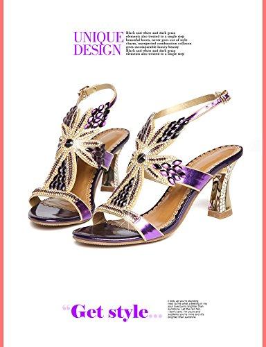 TMKOO cuir diamant sexy talons talons nouvelles femmes Violet chaussures à épais sandales hauts strass 2017 chaussures talons à été avec en hauts OIrAI6