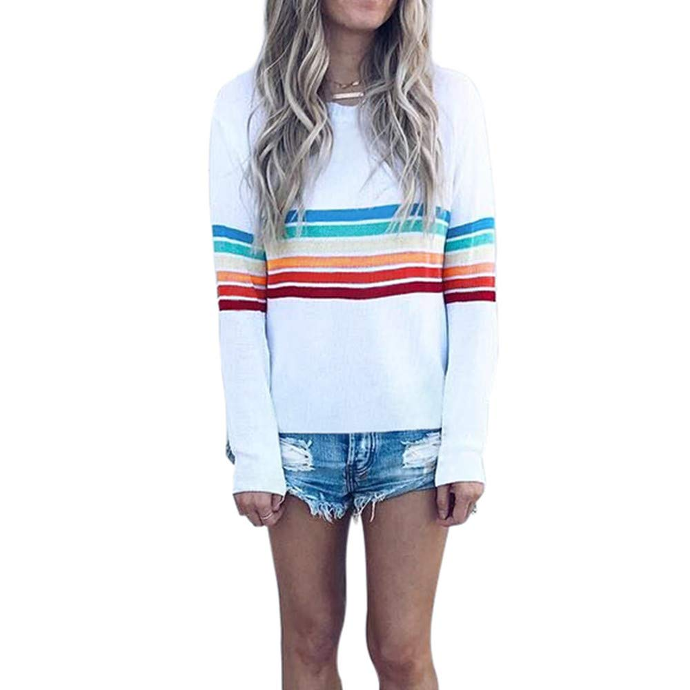 Rambling Womens Sweatshirt Pullover Striped Rainbow Color Long Sleeve Round Neck Casuel Blouse by Rambling (Image #1)