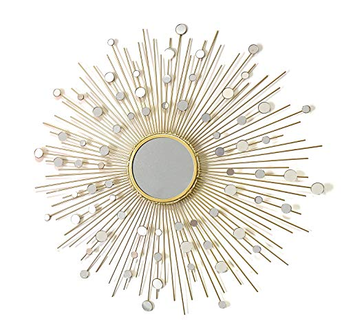 - Fancy Bathroom Mirrors,Living Room Wall Mirror, Kitchen Wall Mirror Decorative Starburst Mirror,Metal Wall Hanging Mirror in Sunburst ShapeMD101