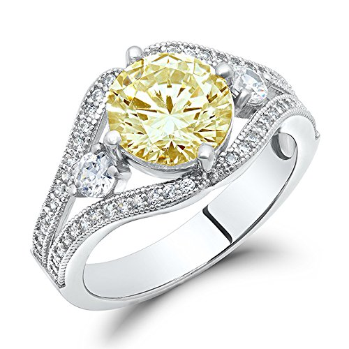 DTLA Sterling Silver Canary Yellow Cubic Zirconia Engagement Ring
